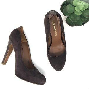 Donald Pliner dark brown suede leather heels